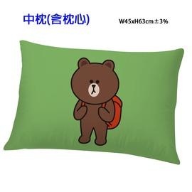 LINE FRIENDS 熊大愛 系列~中枕 枕頭^(綠^)^(灰^) 國際影視