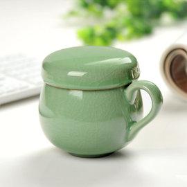 5Cgo ~ 七天交貨~38624197080 龍泉青瓷辦公泡茶杯帶蓋過濾三件式同心杯陶瓷