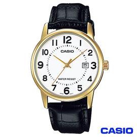 CASIO卡西歐 成熟男仕 鋼帶腕錶~金框 MTP~V002GL~7B