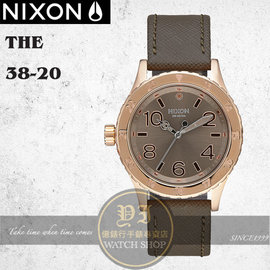NIXON 店The 38~20潮流 中性潛水真皮腕錶 38mm A467~2214 貨