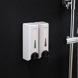 5Cgo ~ 七天交貨~39228839216 浴室酒店手動雙頭皂液器賓館壁掛式沐浴露盒單