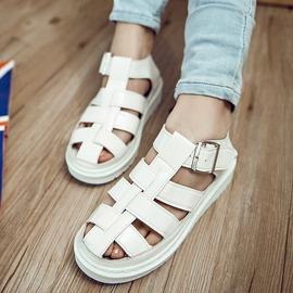 涼鞋  百搭平底厚底鏤空朋克羅馬學生馬丁包頭涼鞋女鞋