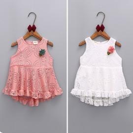 I BABY  女童 兒童 木耳邊 蕾絲 連衣裙 公主禮服裙 洋裝~QA0632~ ^~