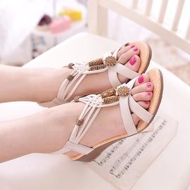 涼鞋女春 厚底中跟平底簡約露趾波西米亞防滑坡跟女學生羅馬鞋