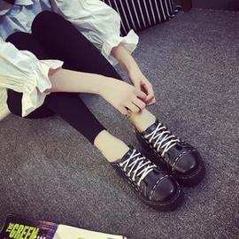 春秋日系鬆糕厚底繫帶復古圓頭小皮鞋學院風英倫女單鞋原宿娃娃鞋