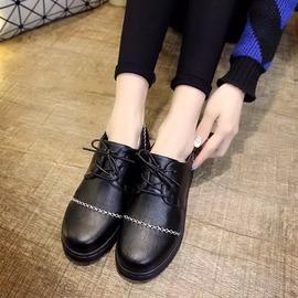 學院風春秋低筒馬丁女鞋小皮鞋英倫復古圓頭娃娃鞋繫帶單鞋學生鞋