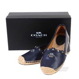COACH Q8426 藍色皮革草編鞋36號 37號