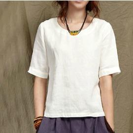 2016 百搭文藝范 寬鬆圓領棉麻白色短袖T恤女大碼上衣