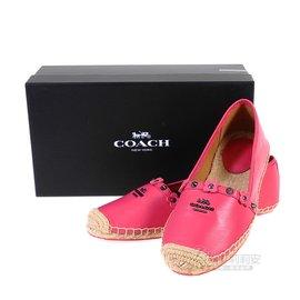 COACH Q8426  粉紅色皮革草編鞋36號 37號