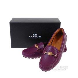 COACH Q7128 紫紅色皮革旋釦豆豆鞋37.5號