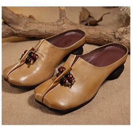 原創休閒頭層牛皮女單鞋文藝粗跟 518~81兩色