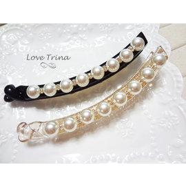 ~Love Trina~韓國 ~正韓✈6912~0605~氣質簡約珍珠帶鑽香蕉夾~髮飾^(