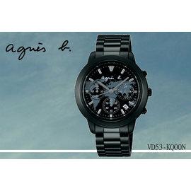 ~時間道~むagnes b~錶め探索世界地圖錶面腕錶 黑面黑鋼^(VD53~KQ00N B