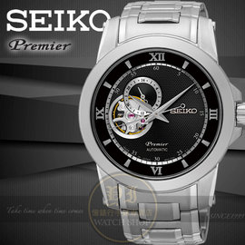 SEIKO 精工Premier開芯系列24小時顯示鏤空機械腕錶4R39~00P0D SSA