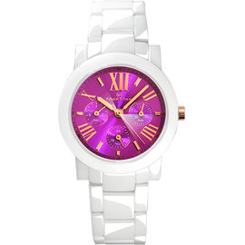 ~時間道 ~〔Max Max~錶〕鑽石切割三眼羅馬刻度 腕錶 葡萄紫面白陶^(MAS508