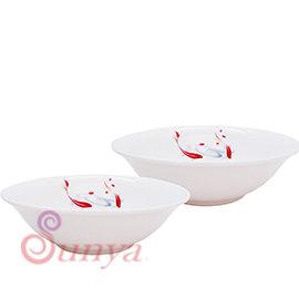 AE系列~011UP~A212 雙魚8吋拉麵碗2入^(陶瓷 碗 拉麵碗 餐具 碗盤 湯碗