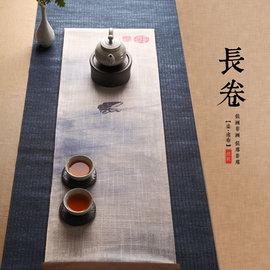 5Cgo ~ 七天交貨~521286882452 布藝禅意茶桌席日式茶具大號雙層棉麻布茶席