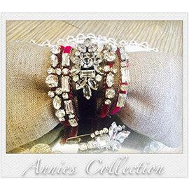 安妮的收藏^~Rada R.B6719桃紅絲絨水鑽手鍊組