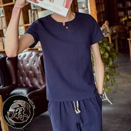 棉麻T恤男亞麻短袖 男士圓領寬鬆上衣休閒短袖t