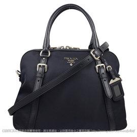 ~  價~PRADA BL0912 浮雕LOGO尼龍皮飾邊銀扣兩用包.深藍 價 28 60
