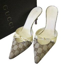 ~巴黎站  ~~GUCCI ~緹花帆布 蝴蝶結 尖頭高跟鞋 涼鞋