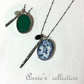 安妮的收藏~Chun Luu 花卉雕刻銀鍊綠