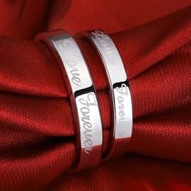情侶戒指英文情侶戒指銀質質飾品女 男士日 開口 (潮衣部落格)
