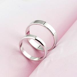 情侶戒指銀質質情侶戒指 男女日 簡約光面開口指環(潮衣部落格)