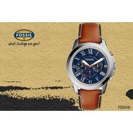 ~時間道~ むFOSSIL~錶め新 主義中性計時羅馬刻度腕錶 藍面咖啡皮^(FS5210^