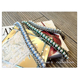 安妮的收藏^~CITRUS 珍珠滾水鑽鍊條手鍊藍灰