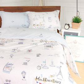 床包組 雙人~100^%純棉兩用被套床包組 ikea風格 旅行日記^~鴻宇^~~ML135