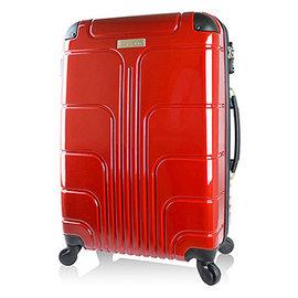 ~Luggagezone~ 流線PC鏡面防水拉鍊海關鎖24吋行李箱~亮麗紅