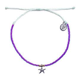Pura Vida 美國 3D STARFISH 銀色海星紫色螢光小彩珠系列 可調式手鍊衝