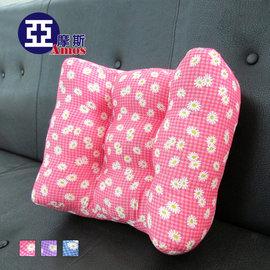 花漾超厚實3D舒適大型靠腰枕 舒壓枕^(紅色^) 人體工學靠枕 枕頭 腰枕 立體護腰靠墊
