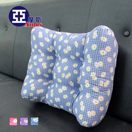 花漾超厚實3D舒適大型靠腰枕 舒壓枕^(藍色^) 人體工學靠枕 枕頭 腰枕 立體護腰靠墊