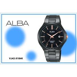 ~時間道~むALBA~錶め簡約藍寶石水晶玻璃腕錶^(大^) 黑面黑鋼^(VJ42~X184