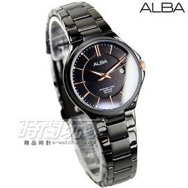ALBA雅柏 劉以豪代言 都會 腕錶 藍寶石水晶 女錶 IP黑電鍍x玫瑰金 AH7L37X
