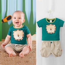^~^~綠底小獅子 短袖上衣 單釦休閒褲套裝