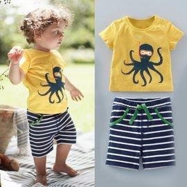 ^~^~海灘風章魚印花上衣 拼色條紋休閒短褲套裝