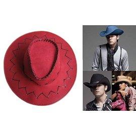 ~海倫精坊~防曬用品~仿麂皮遮陽紅色牛仔帽,單車郊遊登山^( 180元^)男女適 K161