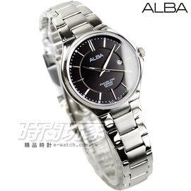 ALBA雅柏 劉以豪代言 都會 腕錶 藍寶石水晶 女錶 銀x黑面 AH7J65X1~VJ2