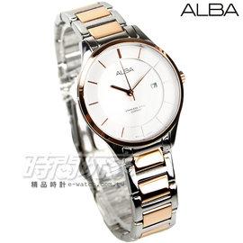 ALBA雅柏 簡約淑女魅力腕錶 藍寶石水晶 女錶 銀x玫瑰金電鍍 AH7L34X1~VJ2