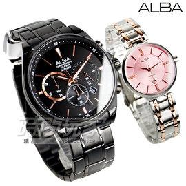 ALBA雅柏 情人節限定 腕錶 藍寶石水晶 情人對錶 IP黑 部份玫瑰金電鍍 粉 AH7L