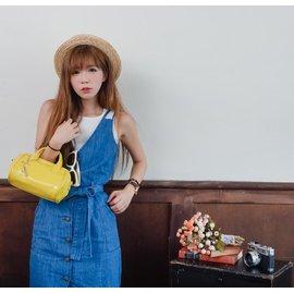 Laugoa糖果繽紛黃 手提包 水餃包 肩背包 側背包 手提袋 方包