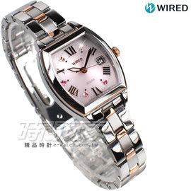 WIRED f 情人節限定 太陽能Solar 酒樽型晶鑽 玫瑰金電鍍 女錶 AGED710