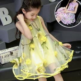 I BABY  女童 兒童 歐根紗 花朵背心裙 蓬蓬裙子 公主裙 洋裝~QA0656~