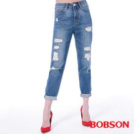 ~BOBSON~女款男朋友破褲^(藍8137~53^)