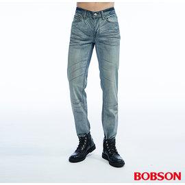 ~BOBSON~男款低腰壓摺半舊直筒褲 藍1807~53