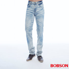 ~BOBSON~男款低腰壓摺直筒褲 藍1808~58