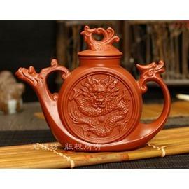 新品紫砂壺 龍鳳船茶壺 紅泥壺 特色寓意擺設裝飾可養泡茶壺380ml
